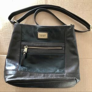 Tignanello Black & Dark Brown Leather Bag